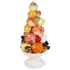Vintage Italian Majolica Fruit Topiary Lemon, Orange, Apple, Peach, Grape