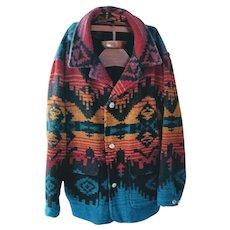 Vintage Woolrich Coat Southwestern Native American Indian Blanket Cowboy Western