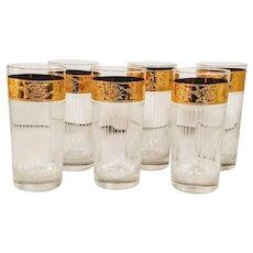 Vintage Culver  Gold Rim Crystal Glasses Ribbed Set 6 Tumblers Barware Mid Century Modern Starlyte