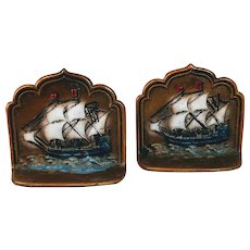 Vintage Cast Iron Ship Bookends Painted Pair Boats