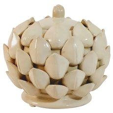 Vintage Artichoke Pottery Bowl With Lid