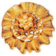 Hattie Carnegie Faux Pearl Brooch Pin Jewelry Gold Tone Ripple Ruffle
