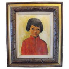 Asian Child Oil Painting Signed Board Oriental