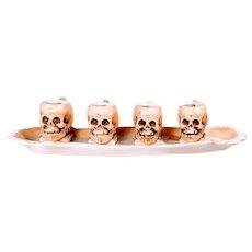 Vintage Skulls Ernst Bohne Söhne Skulls on Teeth Tray Rudolstadt Cups  Bone China German Austria Bavarian Halloween Stein Rare Head Curiosities Science