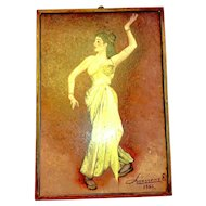 Oil on Board Lanssens Signed Yellow Dress Lady Dancer