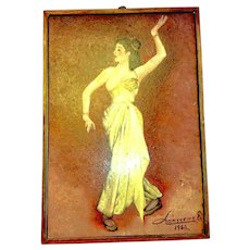 Vintage Signed Painting Lady Yellow Dress Dancer Oil on Board