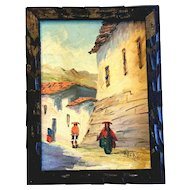 Peru Peruvian Oil Painting Canvas Village Artist Signed