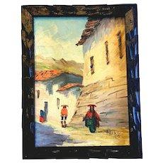 Peru Peruvian Oil Painting Canvas Village Artist Signed