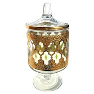 Culver Valencia Gold Glass Candy Dish with Lid