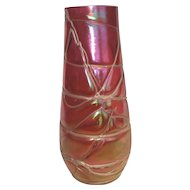 Loetz Kralik Vase Czech Ruby Red Art Nouveau Glass Bohemian Threaded Iridescent