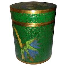 Cloisonne Enameled Jar Green Chinese Tea Humidor