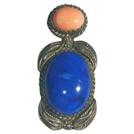 Vintage Lapis and Coral Pendant Running Bear Sterling Silver .925 New Mexico Native American Jewelry