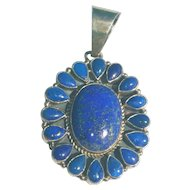 Lapis  Vintage Sterling Silver Pendant Stan Slim .925 Necklace Jewelry Native American Indian Blue Cabochon