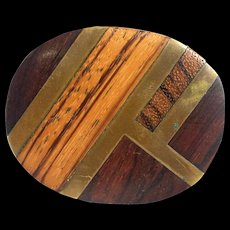 Vintage Wood Wooden Brass Belt Buckle Kenneth Reid - Red Tag Sale Item