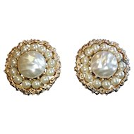 Kramer Faux Pearl and Rhinestone Earrings