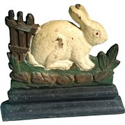 Figural Cast Iron Bunny Rabbit Fence Painted Doorstop Albany Foundry Vintage