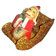 Vintage Santa Cardboard Glitter Sleigh Ornament Decor
