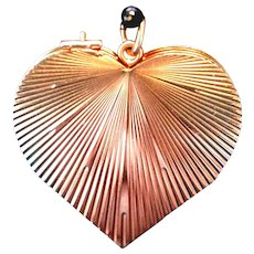 14tk Gold Locket Heart Four Fold Folding Clover Vintage 1930s