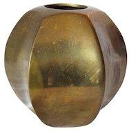 Brass Vase Hexagonal Shape MCM Retro