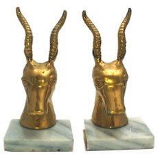 Vintage Brass Antelope Gazelle Deer Bookends Marble Base Book Library Mid Century Animal African