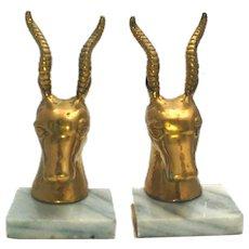 Brass Antelope Gazelle Deer Bookends Marble Base