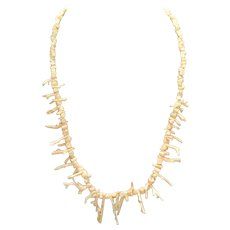 White Branch Coral Angel Skin 20 inch Necklace Vintage