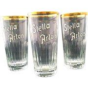 Stella Artois Early Glasses Pilsner Barware Set Vintage Pint