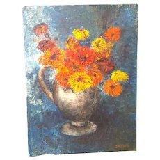 Floral Oil Painting Impasto Still Life Bouquet Flower Vintage Retro