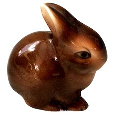 Vintage Austrian Porcelain Bunny Rabbit Figural Easter Europe Brown Hare
