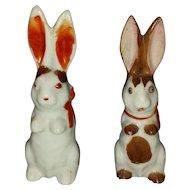 Vintage Japan Rabbit Pair Bunny Easter Porcelain Bisque Figurines