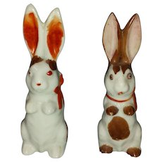 Vintage Japan Rabbit Pair Bunny Easter Porcelain Bisque Figurines