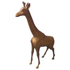 Brass Giraffe Tall Hollywood Regency Vintage