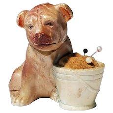 Dog Pincushion Bisque Porcelain Pup Sewing Notion