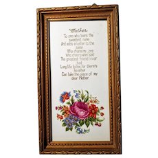 Mothers Day Plaque Poem Vintage Frame Picture Love