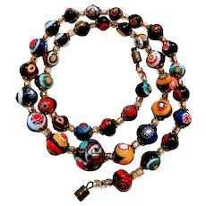 Vintage Murano Millefiori Art Glass Bead Necklace Mosaic Murrini Venice Italian Jewelry