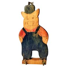 Vintage Folk Art Pig Wooden Kitchen Hanger Towel Pot Holder Painted Three Piggy