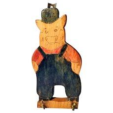 Vintage Folk Art Pig Wooden Kitchen Hanger Towel Pot Holder Painted Three Piggy