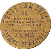 Vintage Uncle Sam Hotel Arizona Territory Token Coin Brothel Whorehouse Novelty Exotic Advertising Flipping