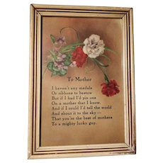 Mothers Mom Day  Poem Vintage Frame Picture Love Print Floral Flowers