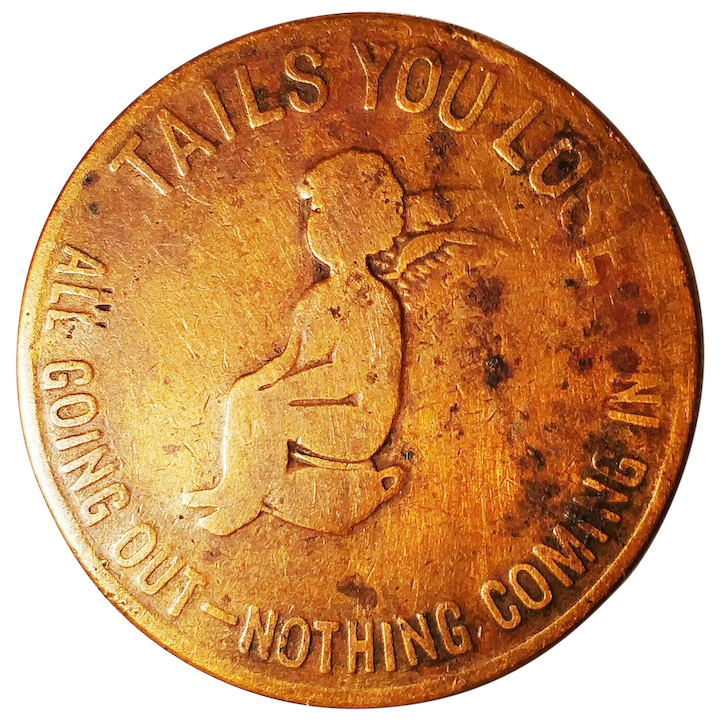 Vintage Coin Heads Tail Win Lose Novelty Flipping Cherub Angel Cascarets  Cathartic Candy Laxative Advertising