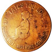 Heads I Win Coin Token Tails You Lose Novelty Flipping Cherub Angel Cascarets Cathartic Candy Laxative Advertising