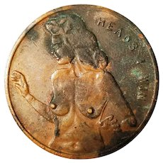 Heads Tails Token Coin Win Lose Naked Woman Lady Novelty Exotic Nude Flipping Game Vintage Winning Patina