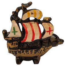 Cast Iron Ship Boat Paperweight Metal Painted Desk Accessory Nautical Ocean Captain Clipper Pirate Ahoy