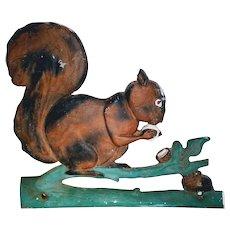 Squirrel Gate Fence Topper Hand Painted Folk Art Primitive Mailbox Finial Architectural Salvage Weathervane cast Iron Aluminum