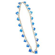 Vintage Czechoslavakia Art Glass Deco Necklace Cobalt Blue Geometric Jewelry