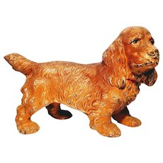 Hubley Vintage Cast Iron Cocker Spaniel Painted Doorstop Figural  Dog Pup Lancaster Pennsylvania Puppy Door Stop