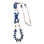 Native American Lapis Lazuli Shell Necklace Sterling Heishi Beads Fetish Necklace NATIVE SPIRIT Mother of Pearl Indian Jewelry