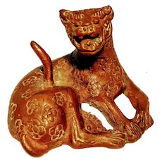 Vintage Antique Ancient Chinese Asian Bronze Rare Mythical Cat Copper Metal  Ring Holder Cheetah China Jewelry Fengshui Leopard