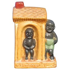 Bisque African American Outhouse Occupied Japan Doll House Bathroom Novelty Black Americana Toy Porcelain Japan Vintage