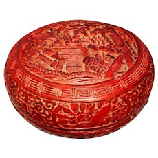 Vintage Cinnabar Carved Red Lacquer over Timber Box Lidded Bowl Asian Intricate Chinese China 1800s Temple Pagoda Wooden Soapstone Carving Carve